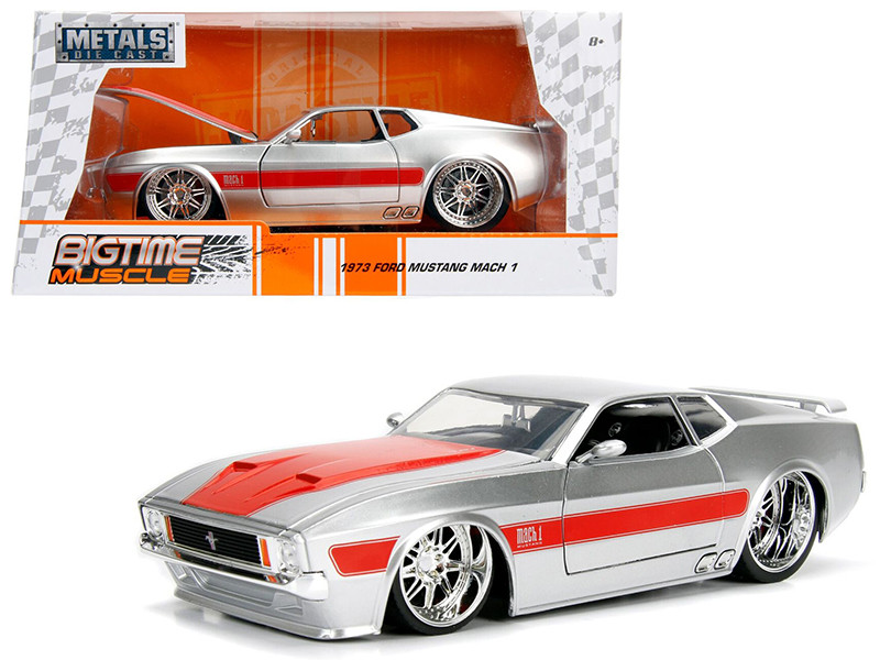 1973 Ford Mustang Mach 1 Silver with Orange Stripes 1/24 Diecast Model Car Jada 99971