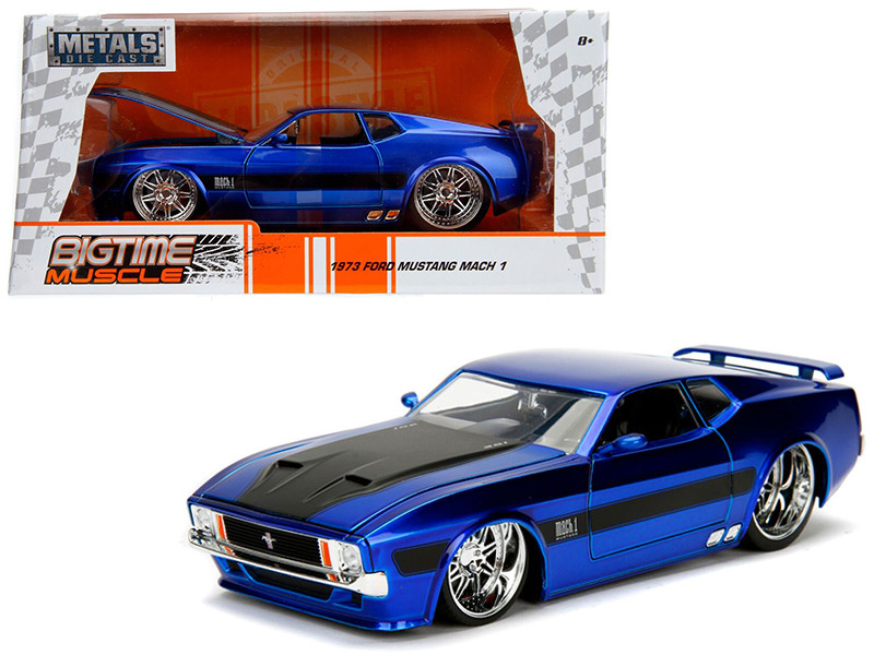 1973 Ford Mustang Mach 1 Blue with Black Stripes 1/24 Diecast Model Car Jada 99972