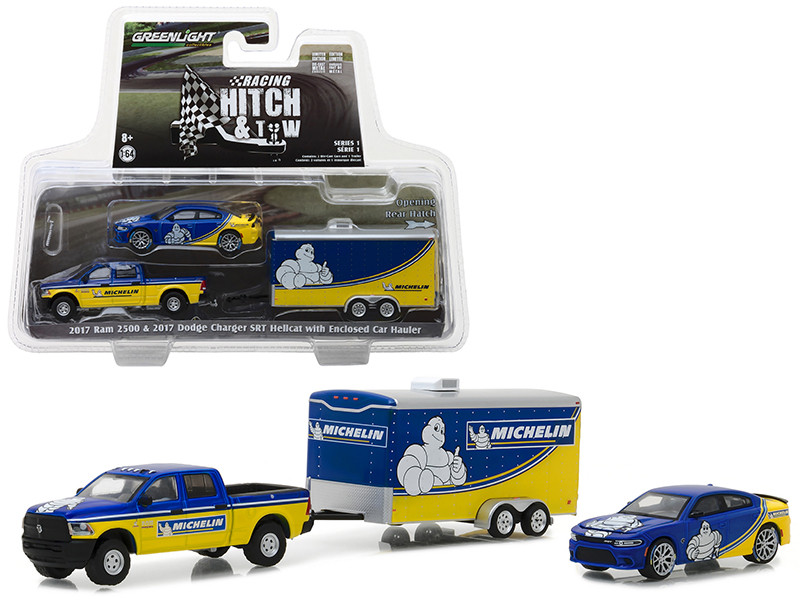 2017 Ram 2500 and 2017 Dodge Charger SRT Hellcat Michelin Tires with Enclosed Car Hauler Racing Hitch Tow Series 1 1/64 Diecast Models Greenlight 31050 B