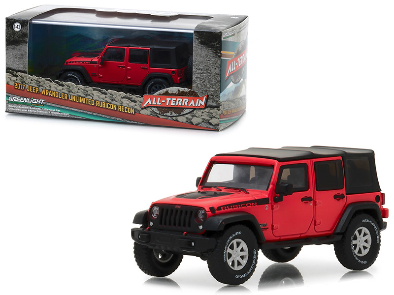 2017 Jeep Wrangler Unlimited Rubicon Recon Red with Black Top Display Showcase 1/43 Diecast Model Car Greenlight 86093