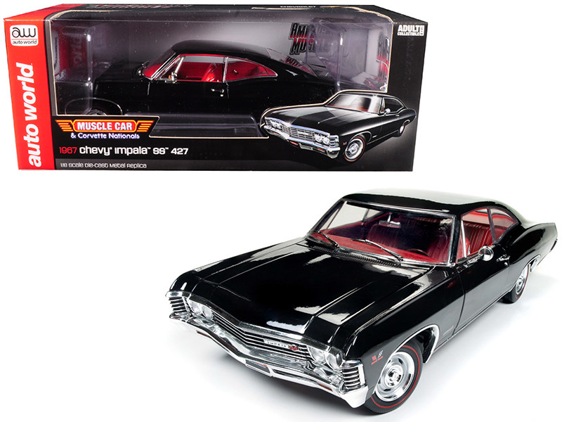 1967 Chevrolet Impala SS 427 MCACN Tuxedo Black Limited Edition 1002 pieces Worldwide 1/18 Diecast Model Car Autoworld AMM1129
