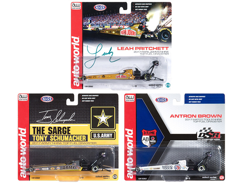NHRA Top Fuel Dragster Release 1 Set of 3 Cars 1/64 Diecast Models Autoworld AW64004