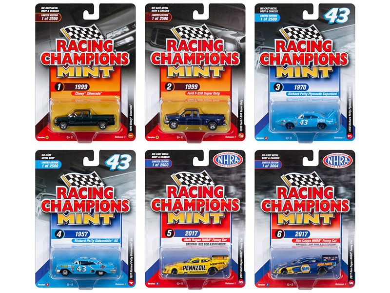 2018 Mint Release 1 Set A of 6 Cars 1/64 Diecast Models Racing Champions RC007 A