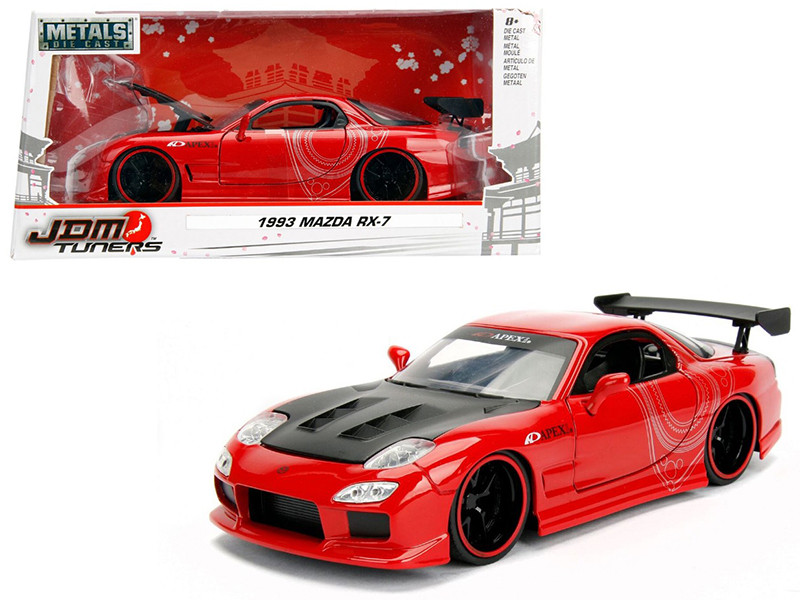 1993 Mazda RX-7 Red with Black Hood JDM Tuners 1/24 Diecast Model Car Jada 98677