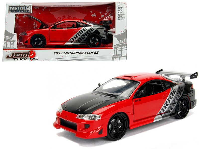 1995 Mitsubishi Eclipse Bride Red JDM Tuners 1/24 Diecast Model Car Jada 99105