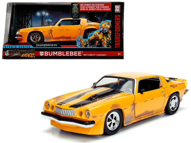 1977 Chevrolet Camaro Concept Bumblebee Yellow from Transformers Movie Hollywood Rides Series 1/24 Diecast Model Car Jada Metals 99383