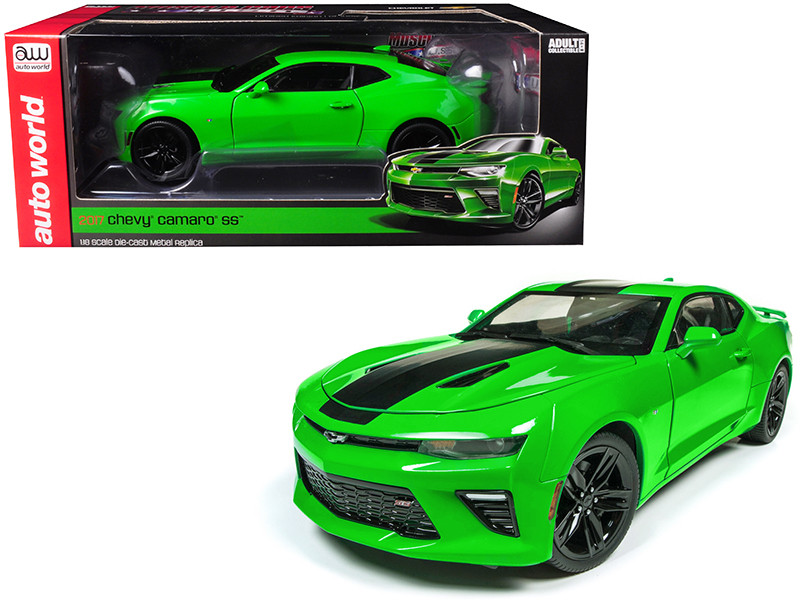 2017 Chevrolet Camaro SS Green Limited Edition 1002 pieces Worldwide 1/18 Diecast Model Car Autoworld AW244