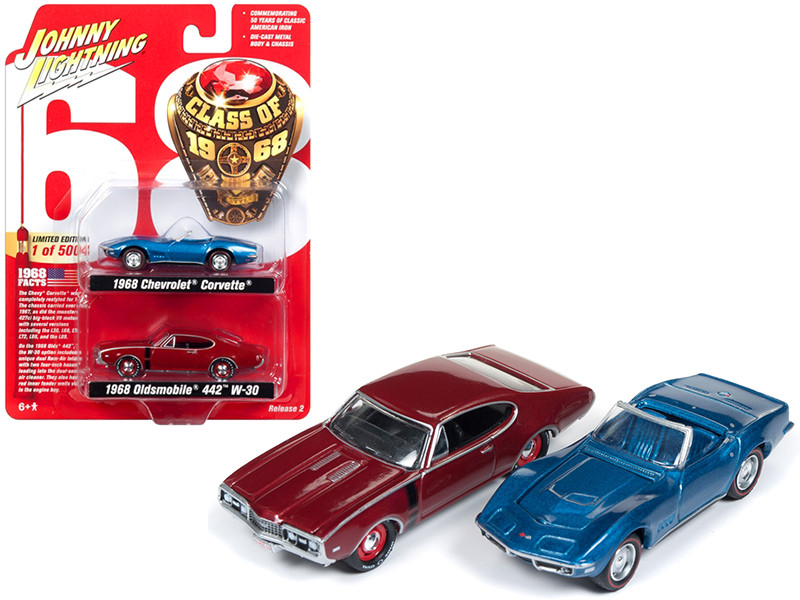 1968 Chevrolet Corvette and 1968 Oldsmobile 442 Class of 1968 Set 2 Limited Edition 5004 pieces Worldwide 1/64 Diecast Model Cars Johnny Lightning JLPK003 CLASS68
