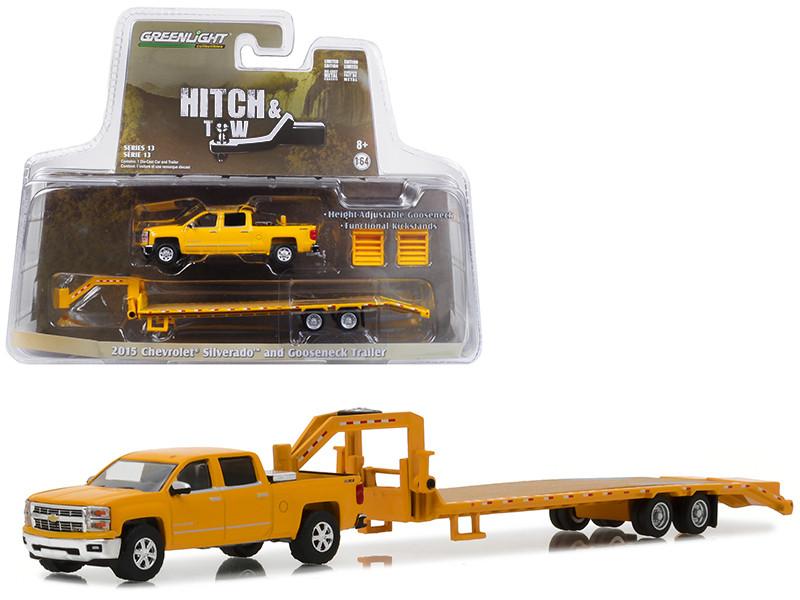 2015 Chevrolet Silverado Gooseneck Trailer Yellow Hitch & Tow Series 13 1/64 Diecast Model Car Greenlight 32130 B