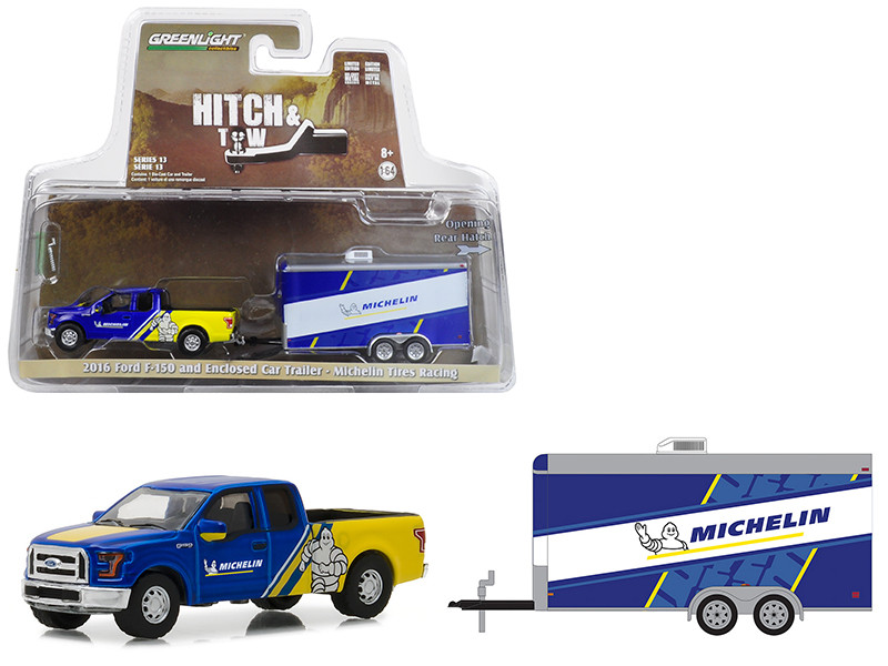 2016 Ford F-150 Michelin Tires Enclosed Car Trailer Michelin Tires Racing Hitch & Tow Series 13 1/64 Diecast Model Car Greenlight 32130 C