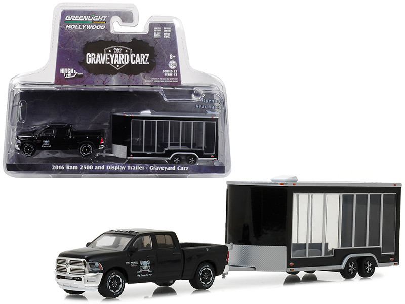 2016 Dodge Ram 2500 Display Trailer Black Graveyard Carz 2012 TV Series Hitch & Tow Series 13 1/64 Diecast Model Car Greenlight 32130 D