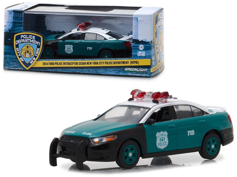 2014 Ford Police Interceptor Sedan New York City Police Department NYPD Vintage Show Vehicle 1/43 Diecast Model Car Greenlight 86094
