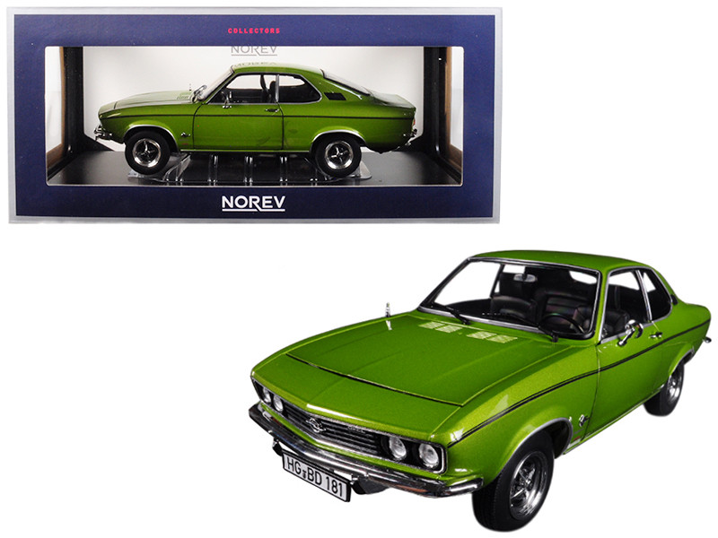 1975 Opel Manta Berlinetta 1900 Lemon Green Metallic 1/18 Diecast Model Car Norev 183635