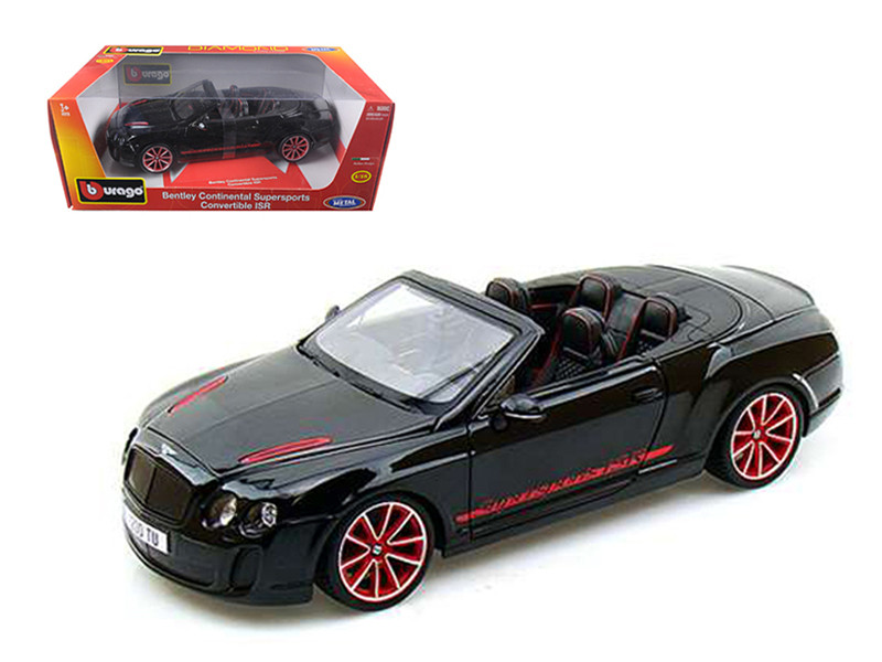2012 2013 Bentley Continental Supersports ISR Convertible Black 1/18 Diecast Model Car by Bburago