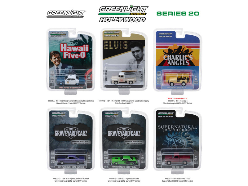 Hollywood Series Release 20 6pc Set 1/64 Diecast Model Cars Greenlight 44800