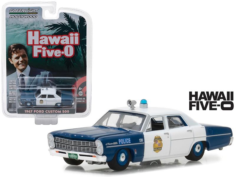 1967 Ford Custom 500 Honolulu Hawaii Police Hawaii Five-0 1968-1980 TV Series Hollywood Series 20 1/64 Diecast Model Car Greenlight 44800 A