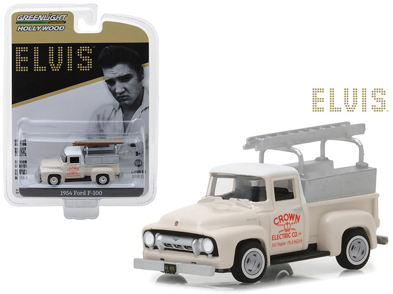 1954 Ford F-100 Pickup Truck Cream Crown Electric Company Elvis Presley 1935-1977 Hollywood Series 20 1/64 Diecast Model Car Greenlight 44800 B