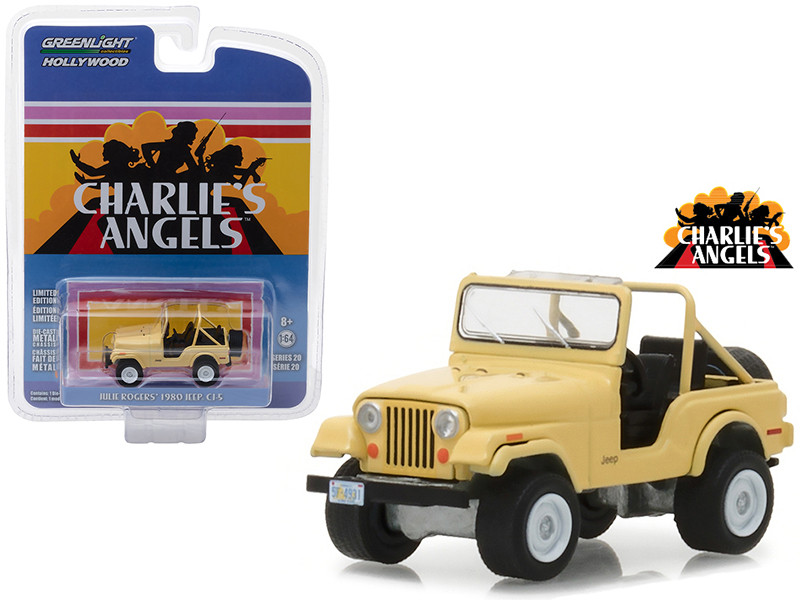 1980 Jeep CJ-5 Yellow Julie Rogers Charlie's Angels 1976-1981 TV Series Hollywood Series 20 1/64 Diecast Model Car Greenlight 44800 C