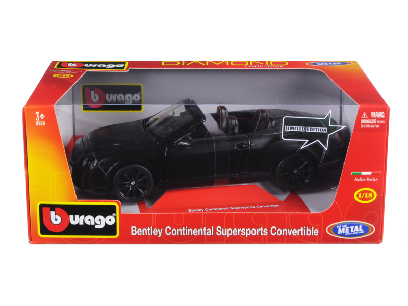 Bentley Continental Supersports Convertible Matt Black 1/18 Diecast Car Model Bburago 11035