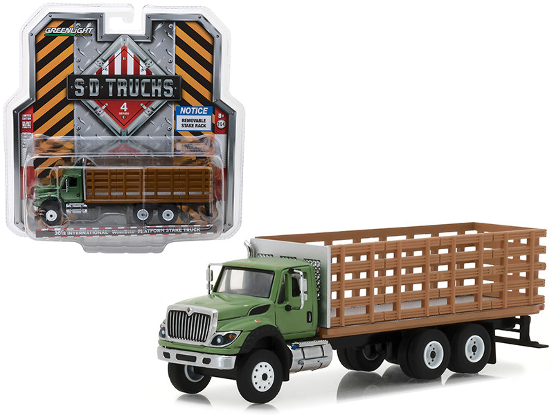 2018 International WorkStar Platform Stake Truck with Wood Effect S.D. Trucks Series 4 1/64 Diecast Model Greenlight 45040 B