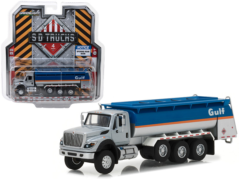 2018 International WorkStar Gulf Oil Tanker Truck S.D. Trucks Series 4 1/64 Diecast Model Greenlight 45040 C