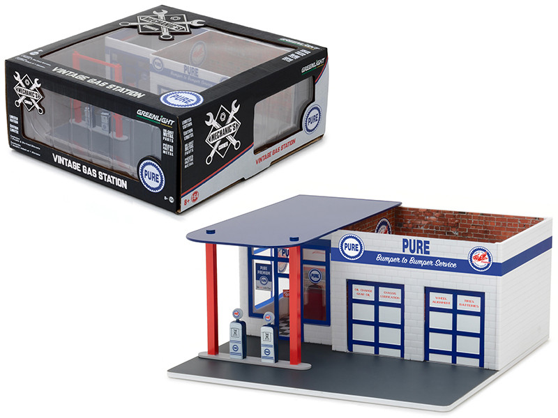 Vintage Gas Station Pure Oil Mechanic's Corner Series 3 Diorama for 1/64 Scale Models Greenlight 57031