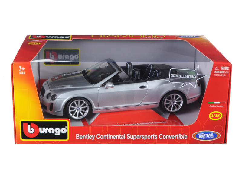 Bentley Continental Supersports Convertible Silver 1/18 Diecast Car Model by Bburago