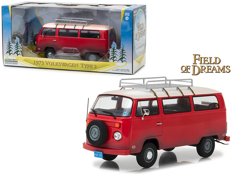 1973 Volkswagen Bus Type 2 T2B Red Field of Dreams Movie 1989 1/24 Diecast Model Greenlight 84034