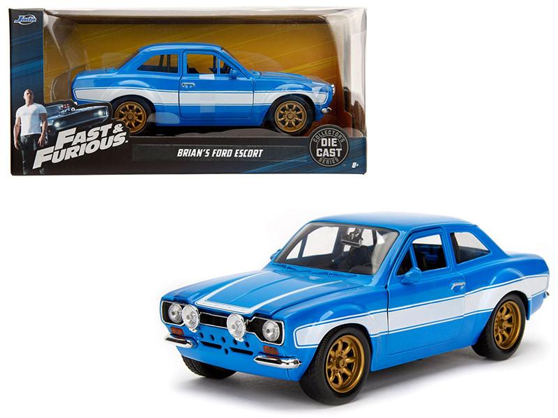 1970 Brian's Ford Escort Blue White Stripes Fast Furious Movie 1/24 Diecast Model Car Jada 99572