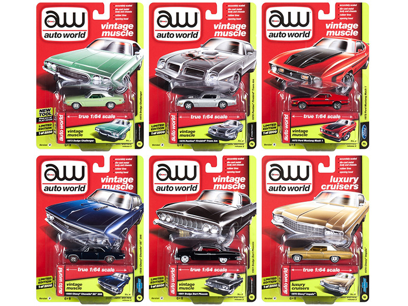 Autoworld Muscle Cars Premium 2018 Release 2 A Set 6 1/64 Diecast Model Cars Autoworld 64172 A
