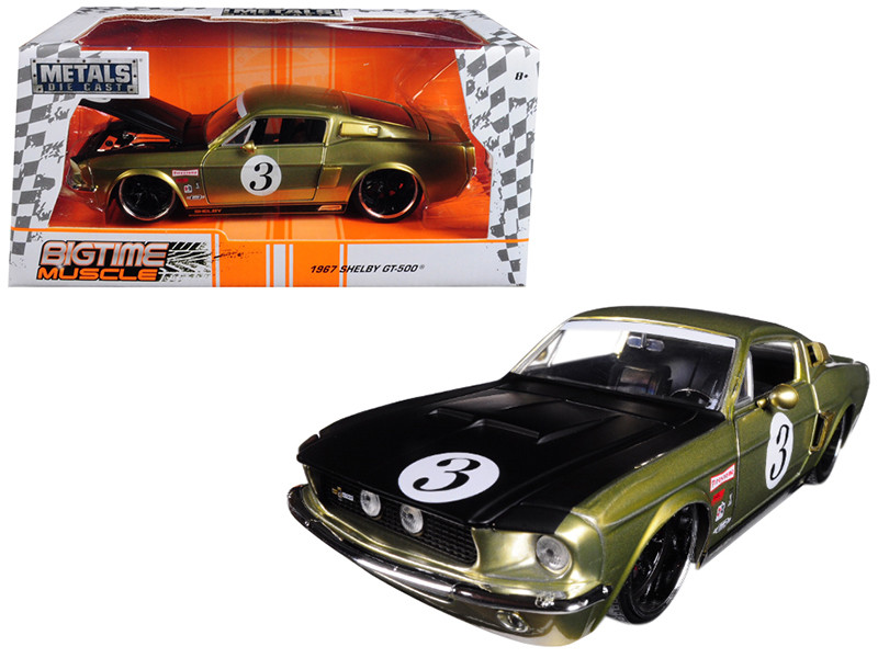 1967 Ford Shelby GT-500 #3 Gold Matt Black Hood Big Time Muscle 1/24 Diecast Model Car Jada 99084