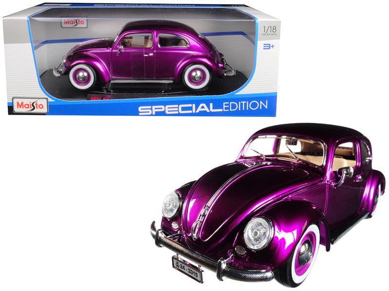 1955 Volkswagen Kafer Beetle Purple 1/18 Diecast Model Car Maisto 31705