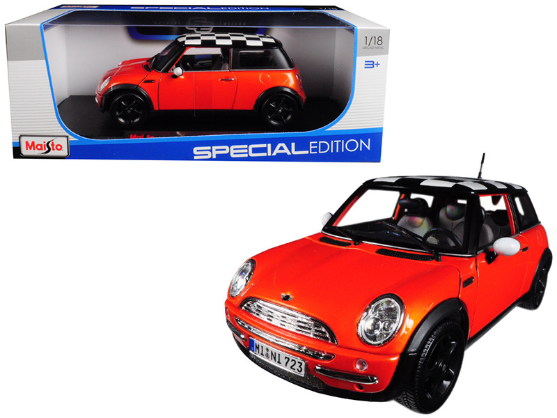 Mini Cooper Orange Metallic Check Roof 1/18 Diecast Model Car Maisto 12034