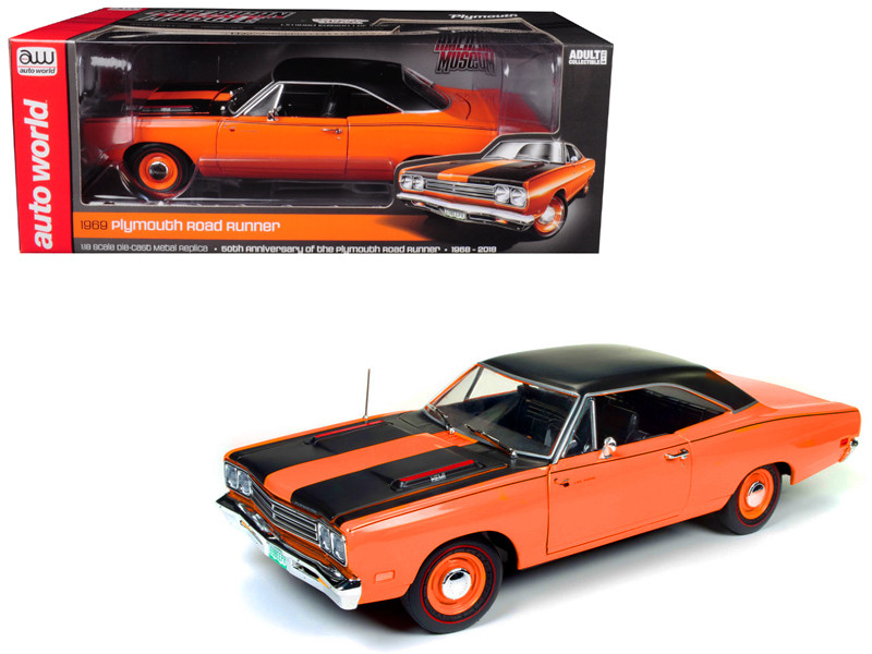 1969 Plymouth Road Runner 50th Anniversary Omaha Orange Limited Edition 1002 pieces Worldwide 1/18 Diecast Model Car Autoworld AMM1131