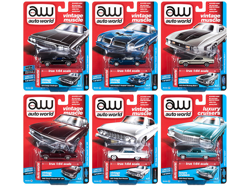 Autoworld Muscle Cars Premium 2018 Release 2 B Set 6 1/64 Diecast Model Cars Autoworld 64172 B