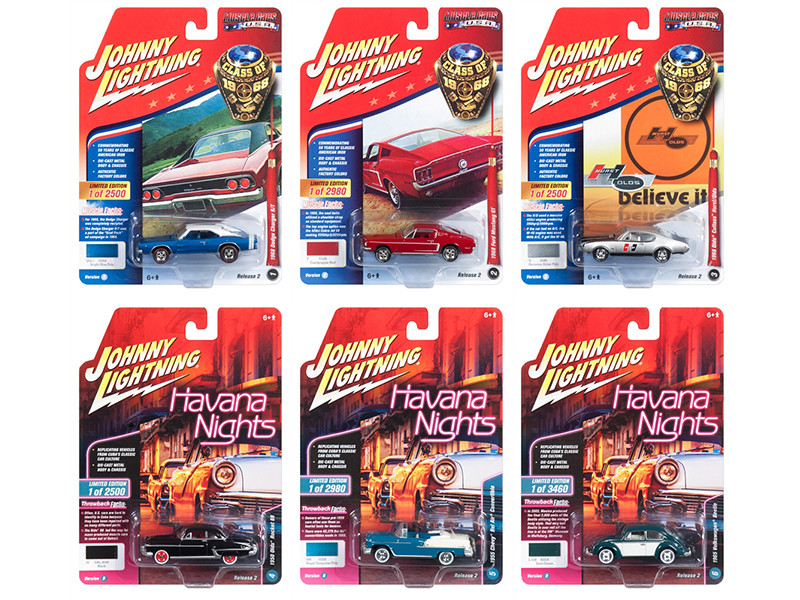 Muscle Cars USA 2018 Release 2 Set B 6 1/64 Diecast Model Cars Johnny Lightning JLMC013 B