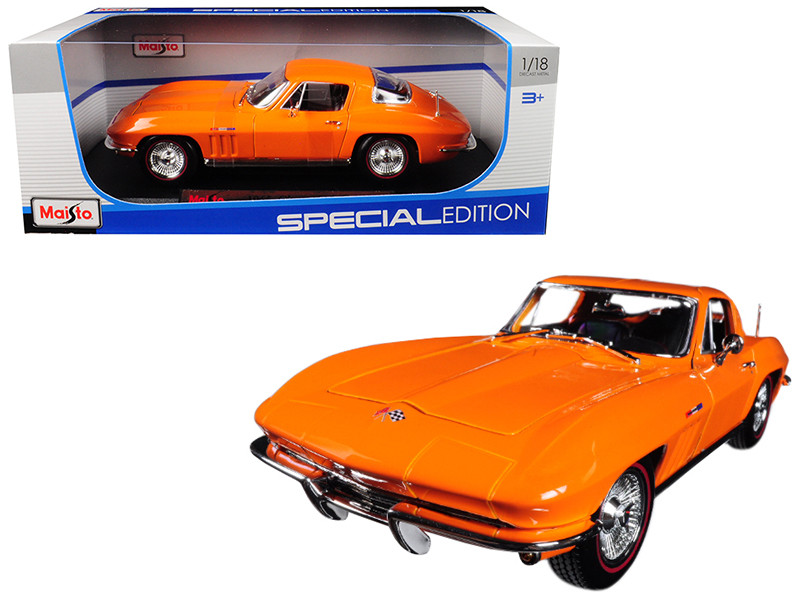 1965 Chevrolet Corvette Orange 1/18 Diecast Model Car Maisto 31640