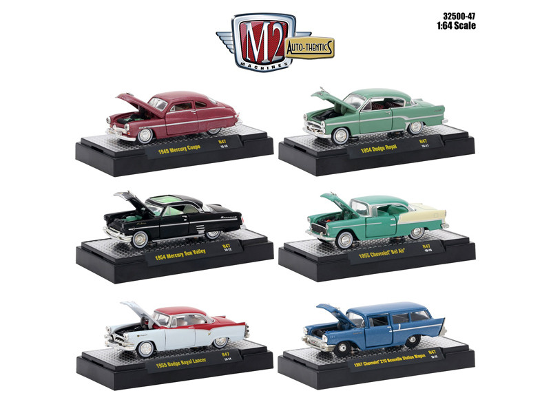 Auto Thentics 6 Piece Set Release 47 DISPLAY CASES 1/64 Diecast Model Cars M2 Machines 32500-47