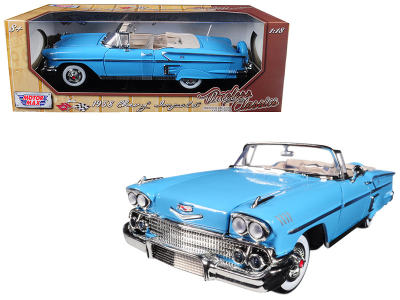 1958 Chevrolet Impala Convertible Light Blue Timeless Classics 1/18 Diecast Car Model Motormax 73112
