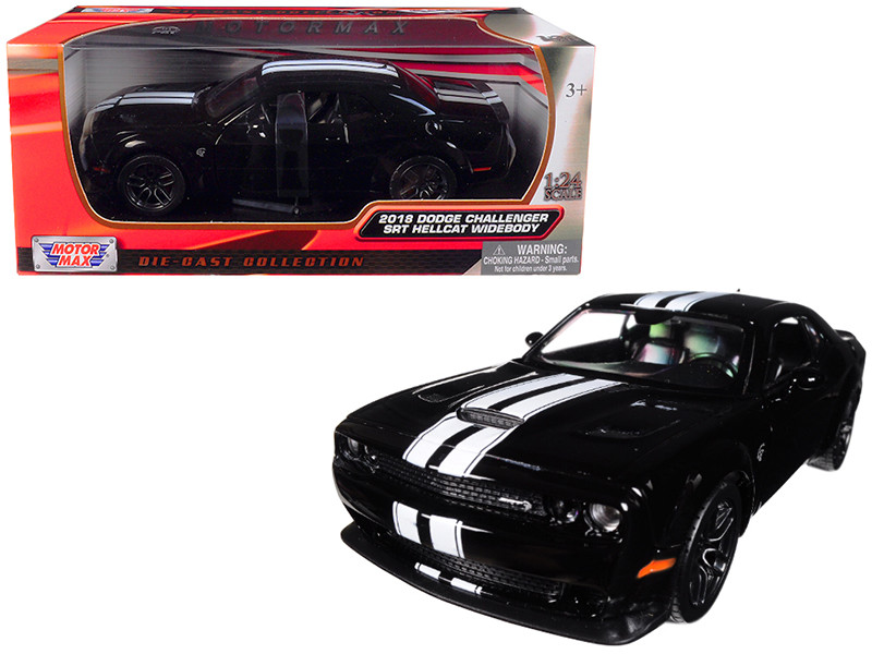 2018 Dodge Challenger SRT Hellcat Widebody Black White Stripes 1/24 Diecast Model Car Motormax 79350