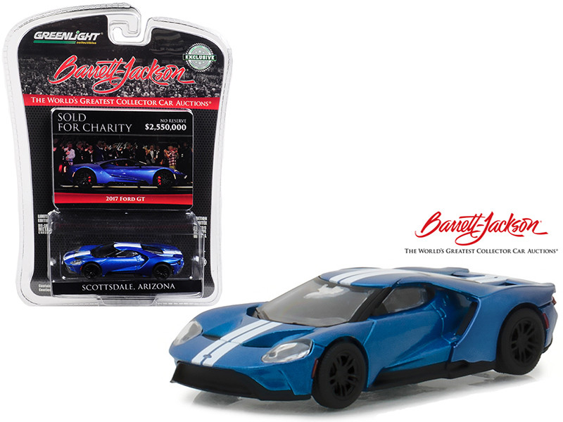 2017 Ford GT Liquid Blue White Stripes Barrett-Jackson Scottsdale Arizona IGNITE Program Charity Car Hobby Exclusive 1/64 Diecast Model Car Greenlight 29964