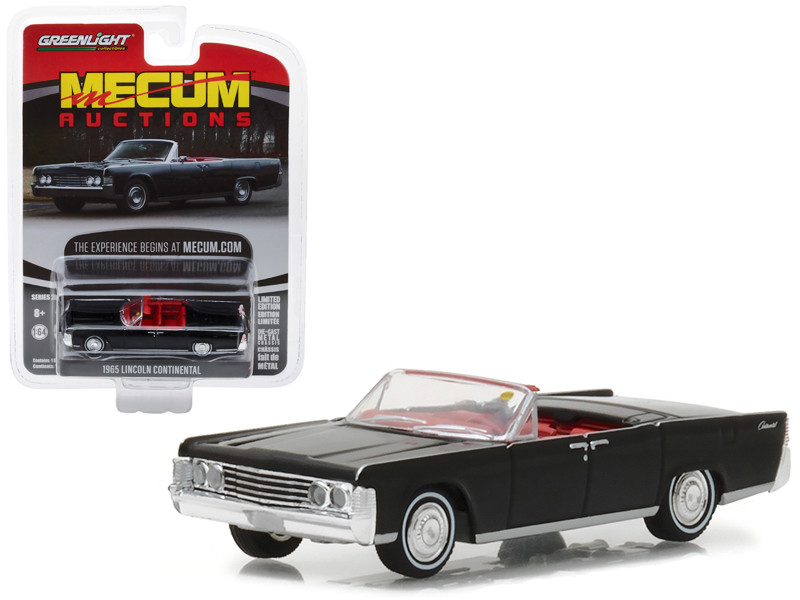 1965 Lincoln Continental Convertible Black Indianapolis 2016 Mecum Auctions Collector Series 2 1/64 Diecast Model Car Greenlight 37140 A