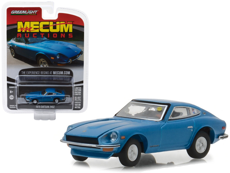 1970 Datsun 240Z Blue Seattle 2014 Mecum Auctions Collector Series 2 1/64 Diecast Model Car Greenlight 37140 B