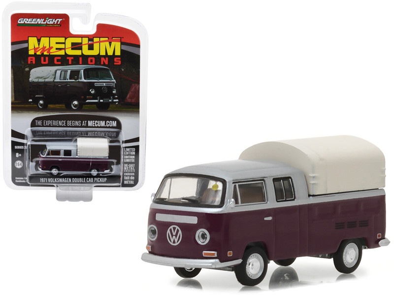 1971 Volkswagen Double Cab Pickup Burgundy Silver Houston 2015 Mecum Auctions Collector Series 2 1/64 Diecast Model Car Greenlight 37140 C