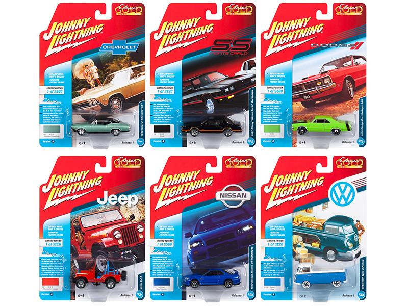 Classic Gold 2018 Release 1 Set A 6 1/64 Diecast Model Cars Johnny Lightning JLCG013 A