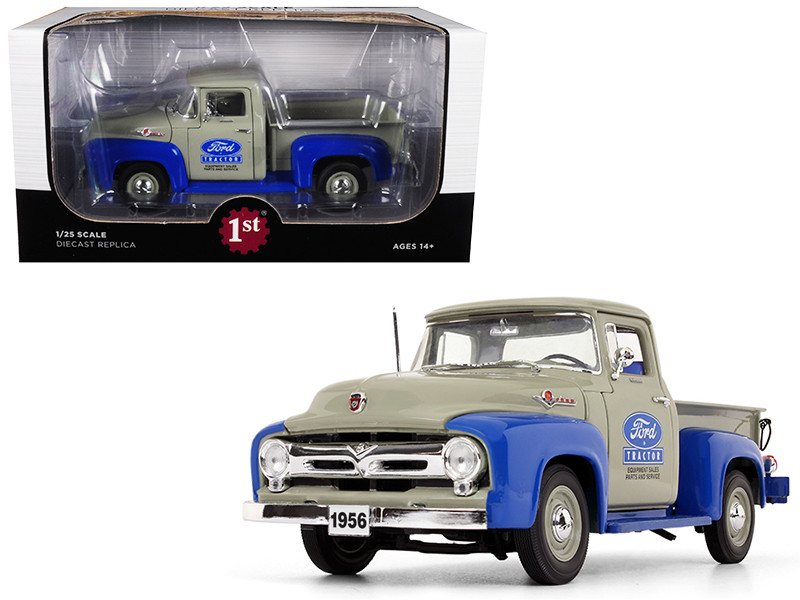 1956 Ford F-100 Pickup Truck High Feature Ford Tractor Equipment Sales Gray Blue 1/25 Diecast Model Car First Gear 40-0415