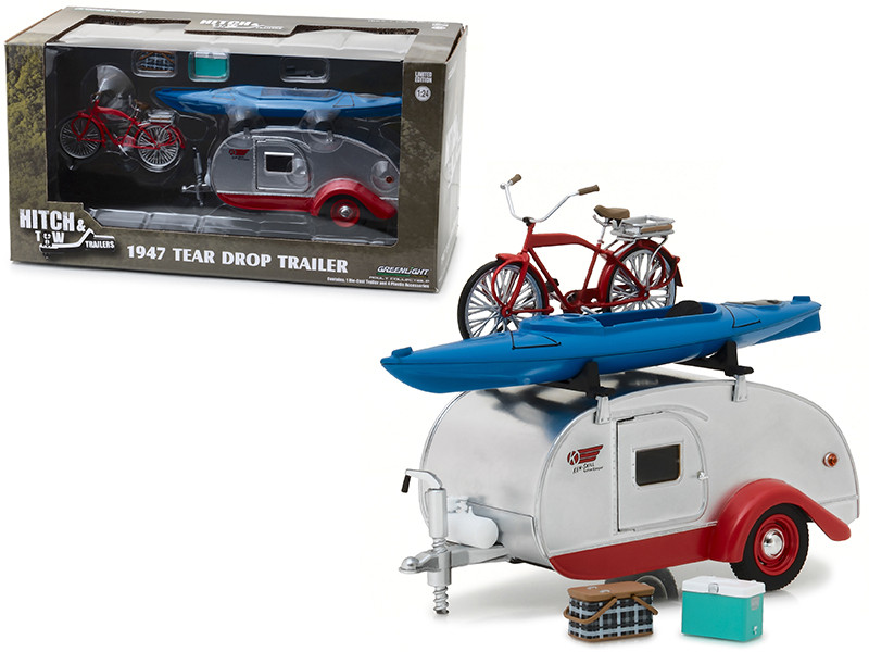 1947 Kenskill Tear Drop Trailer Accessories Hitch and Tow Trailers Series 4 1/24 Scale Model Cars Trucks 1/24 Diecast Model Greenlight 18440 A