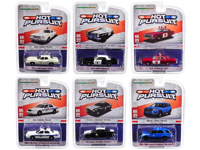 Hot Pursuit Series 27 Set 6pcs 1/64 Diecast Model Cars Greenlight 42840