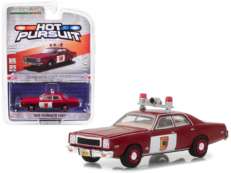 1978 Plymouth Fury Minnesota State Patrol Hot Pursuit Series 27 1/64 Diecast Model Car Greenlight 42840 C