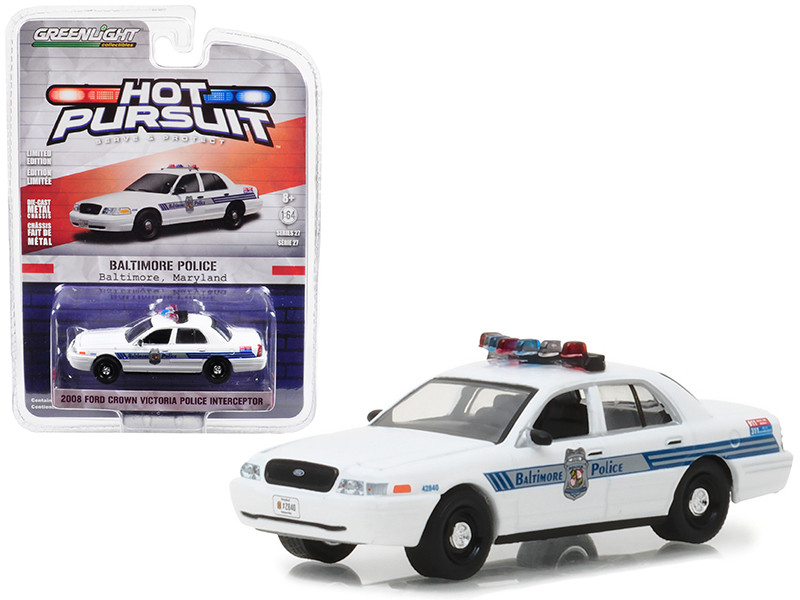 2008 Ford Crown Victoria Police Interceptor Baltimore Maryland Police Department Hot Pursuit Series 27 1/64 Diecast Model Car Greenlight 42840 D